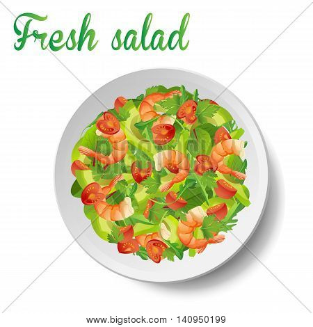 Salad with shrimps or prawns avocado fresh tomatoes arugula or rucola spinach mangold leaves in bowl with small olive oil. Beautiful side view close-up vector illustration on white background.