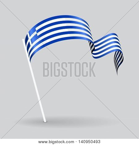 Greek pin icon wavy flag. Vector illustration.