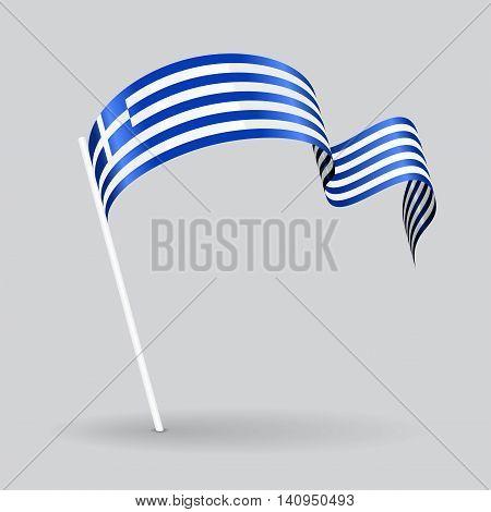 Greek pin icon wavy flag. Vector illustration.