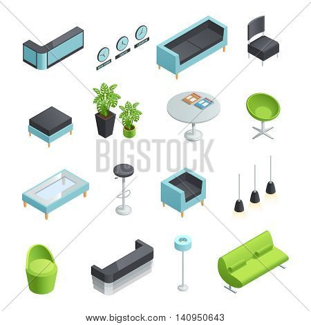Color isometric icons of interior elements of hall foyer vector illustration
