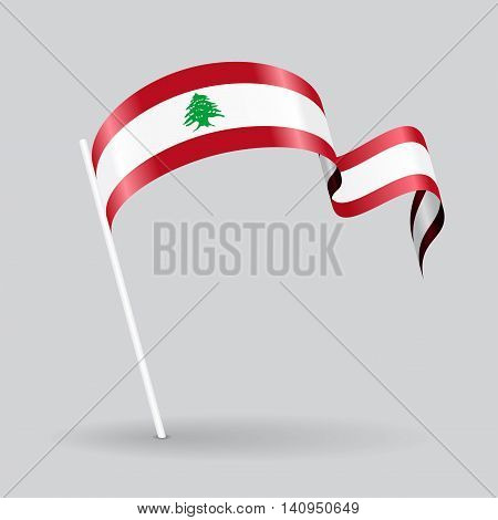 Lebanese pin icon wavy flag. Vector illustration.