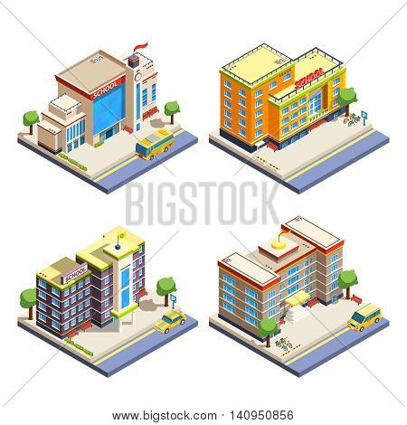 Modern many-storeyed school buildings with cars bicycles and school bus isometric icons set on white background isolated vector illustration