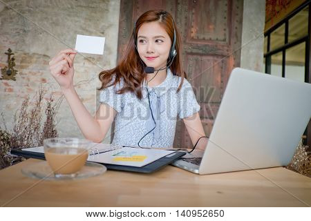 Portrait Of Woman Customer Service Worker, Call Center Smiling Operator With Phone Headset. Young Fe