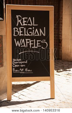 Belgium Waffles street display by the restaurant in Brussel