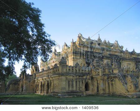 Yellow Sacred Budhist Temple In Inwa, Mandalay, Myanmar