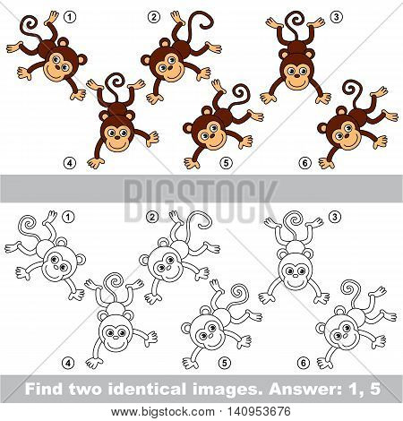 The design difference. Vector visual game for kid education. Simple level of difficulty. Easy educational game. Task and answer. Find two similar Monkey.