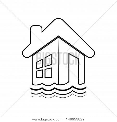flood house home insurance accident protection icon. Isolated and flat illustration. Vector graphic