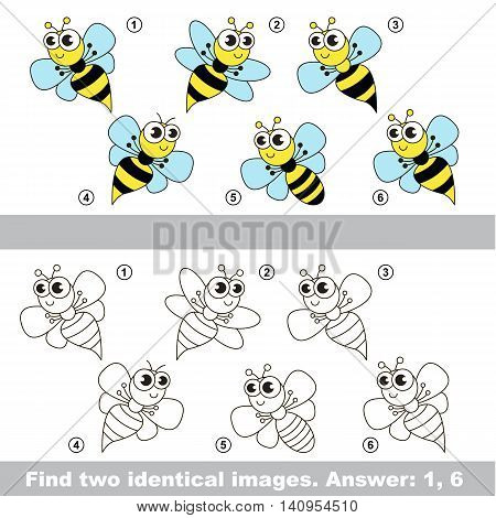 The design difference. Vector visual game for kid education. Simple level of difficulty. Easy educational game. Task and answer. Find two similar Wasps.