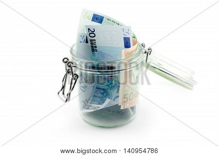 Euro paper notes in a glass jar accumulation
