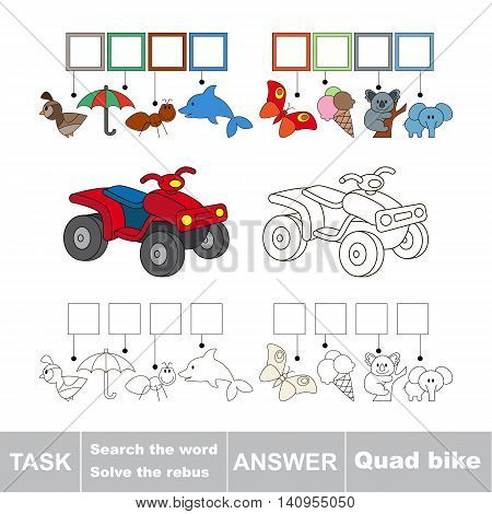 Vector rebus game for children. Easy educational kid game. Simple game level. Find solution and write the hidden word Quad bike.