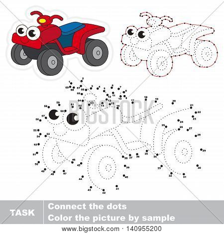 Quad bike. in vector to be traced by numbers. Easy educational kid game. Simple game level. Education and gaming for kids. Vector visual game for children.