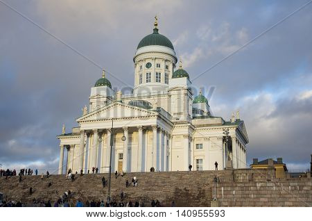 HELSINKI FINLAND - DECEMBER 30 2013: Helsinki Cathedral the Finnish Evangelical Lutheran cathedral of the Diocese of Helsinki Finland. It was also known as Saint Nicholas Church until 1917