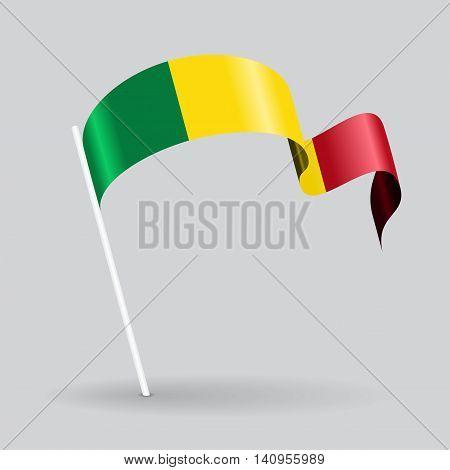 Malian pin icon wavy flag. Vector illustration.