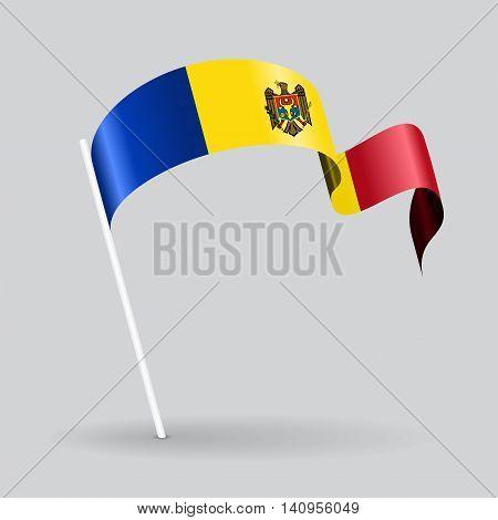 Moldovan pin icon wavy flag. Vector illustration.