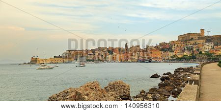 Cityscape of old Gaeta town in summer Italy