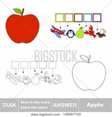 Vector rebus game for children. Easy educational kid game. Simple game level. Find solution and write the hidden word Apple.