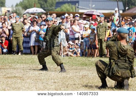 Ulyanovsk Russia - July 31 2016: Demonstrations of soldiers during the celebration of the Airborne Forces. The Russian Airborne Troops or VDV is a military branch of the Armed Forces of the Russian Federation.
