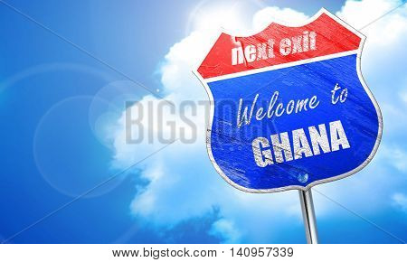 Welcome to ghana, 3D rendering, blue street sign