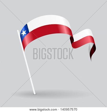 Chilean pin icon wavy flag. Vector illustration.