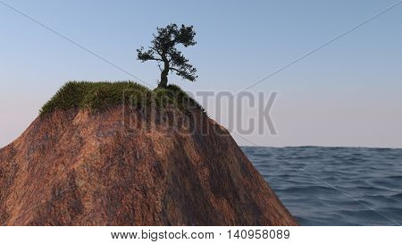 3d illustration of the lonely tree on cliff