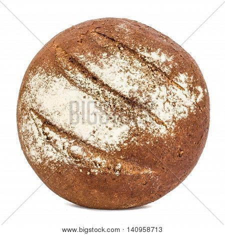 Bread with appetizing crunchy crust isolated on white background