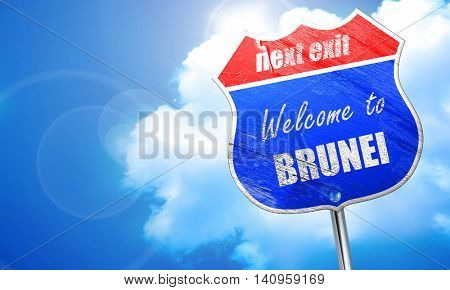 Welcome to brunei, 3D rendering, blue street sign