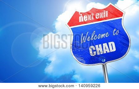 Welcome to chad, 3D rendering, blue street sign