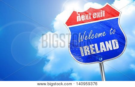 Welcome to ireland, 3D rendering, blue street sign