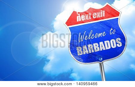Welcome to barbados, 3D rendering, blue street sign