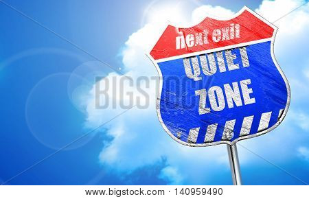 Quiet zone sign, 3D rendering, blue street sign