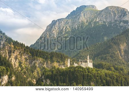 Neuschwanstein castle in Beautiful summer romantic road view Fussen Bavaria, Germany