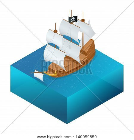 Isometric Pirate Ship with pirate flag on water.