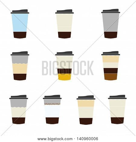 Different types of coffee from coffee house