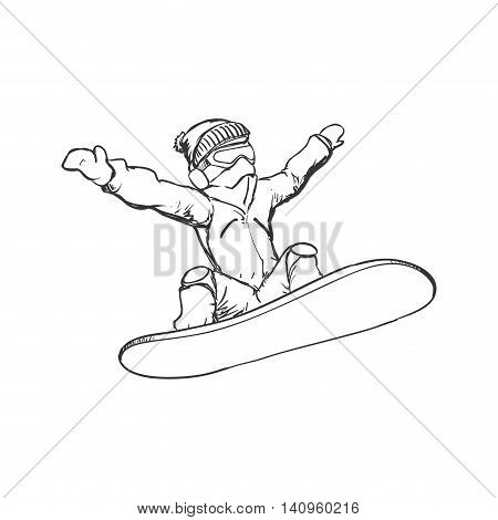 snowboard man male hat glasses jacket winter sport snow icon. Isolated and flat illustration. Vector graphic