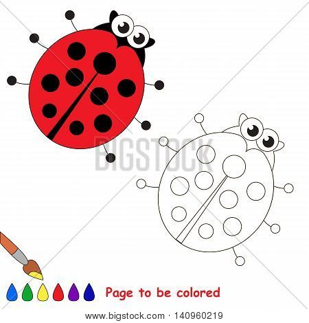 Ladybird to be colored. Coloring book to educate kids. Learn colors. Visual educational game. Easy kid gaming and primary education. Simple level of difficulty. Coloring pages.