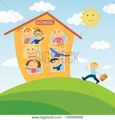 Happy children in school. Close-knit class. To go to school.