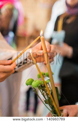 Burning Thin Candle During Christening Orthodox Baptism