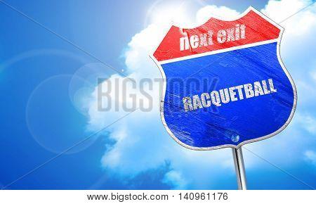 racquetball, 3D rendering, blue street sign