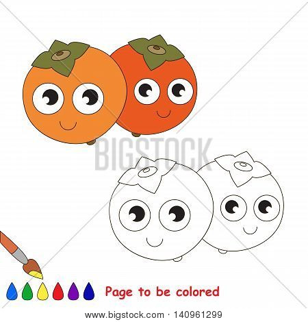 Persimmon to be colored. Coloring book to educate kids. Learn colors. Visual educational game. Easy kid gaming and primary education. Simple level of difficulty. Coloring pages.