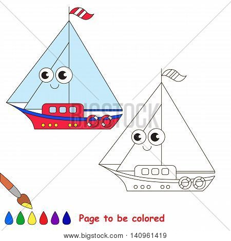 Boat to be colored. Coloring book to educate kids. Learn colors. Visual educational game. Easy kid gaming and primary education. Simple level of difficulty. Coloring pages.