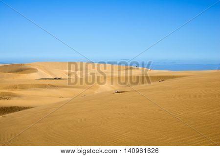 Maspalomas Dunes on the coast of Atlantic ocean on Gran Canaria Canary islands Spain