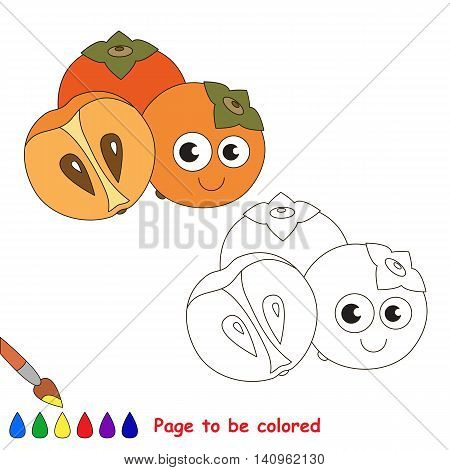 Sweet persimmon to be colored. Coloring book to educate kids. Learn colors. Visual educational game. Easy kid gaming and primary education. Simple level of difficulty. Page for coloring.