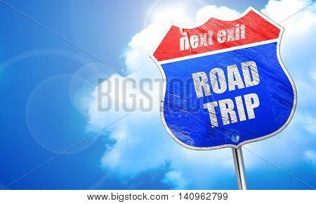 roadtrip, 3D rendering, blue street sign