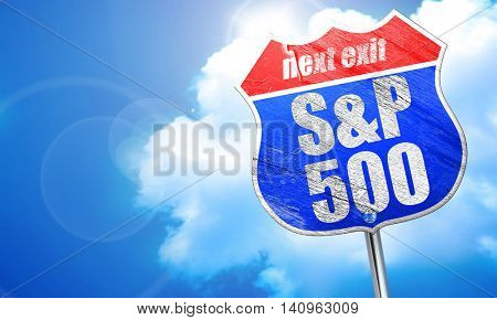 S and P, 3D rendering, blue street sign