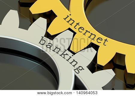 Internet Banking concept on the gearwheels 3D rendering