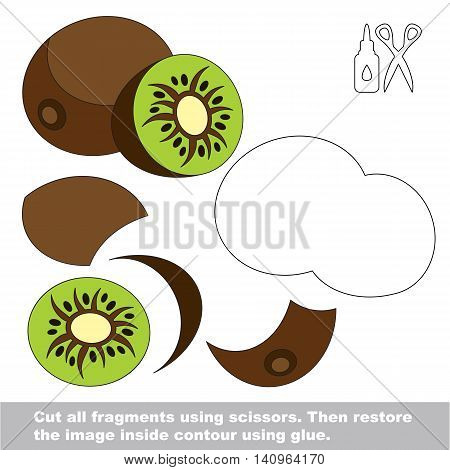 Use scissors and glue and restore the picture inside the contour. Easy educational paper game for kids. Simple kid application with Kiwifruit.
