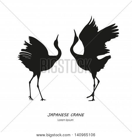 Silhouette of the two dancing Japanese crane on a white background. Vector illustration