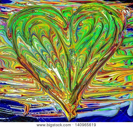 Heart shaped and mixed painted colors with wet paint