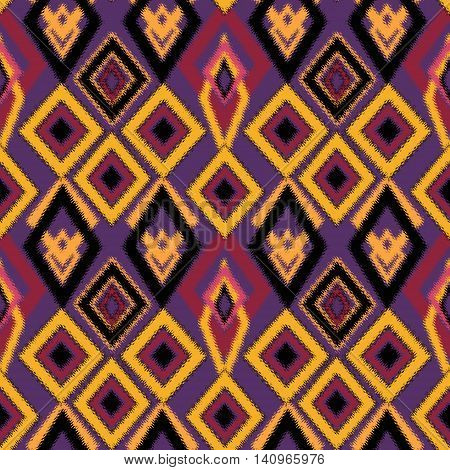 Ethno abstract seamless tribal pattern with decorative folk elements background