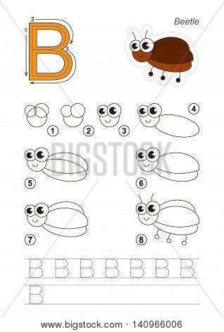 Complete vector illustrated alphabet with kid games. Learn handwriting. Easy educational kid game. Simple level of difficulty. Gaming and education. Drawing tutorial for letter B. The small bug.